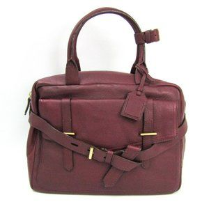 Authentic Reed Krakoff Leather Handbag Red BF50211